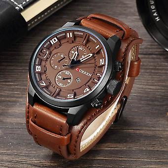 Top merk Sport Horloges, Militaire Klok Lederen Band Quartz Men Watch