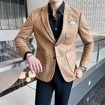 Men Printed Blazer, Masculino Wedding, Business Casual Suit Jacket, Streetwear