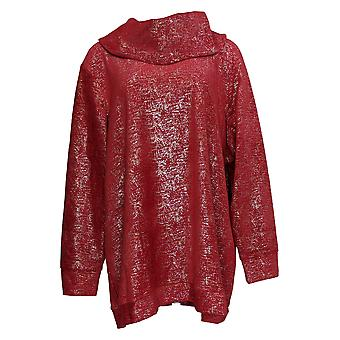 Denim & Co. Women's Top Velour Foil Cowl-Neck Tunic Red A371335