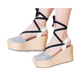 Espadrille Sandals Silvia Cobos Lace Blue Stripes