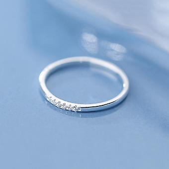 Real Sterling Silver Zircon Ronde Geometrische Ring, Cute Fine Sieraden, Minimalistisch