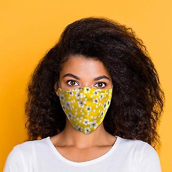 Cobertura facial floral amarela reutilizável - grande