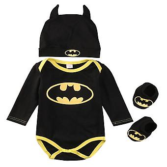 バットマンロンパース+靴+新生児のための帽子