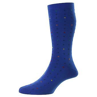 Pantherella Shelford New Spot Fil D'Ecosse Socks - Sapphire Blue