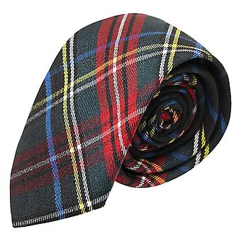 &Verde scuro tradizionale Cravatta Tartan Nera