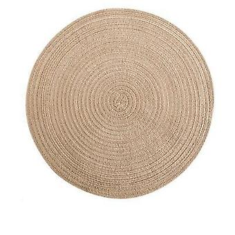 6pcs  Round Ramie Insulation Pad Solid Placemats Linen Non Slip Table Mat