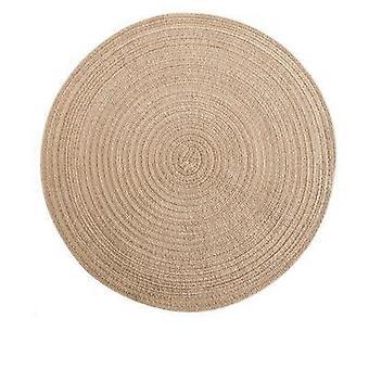 6kpl pyöreä ramie eristys pad kiinteä placemats pella liinavaatteet liukumaton pöytämatto