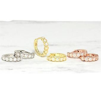 Simples Lovely's Huggies Small Hoop Round Circle Brinco de Cristal Zircon
