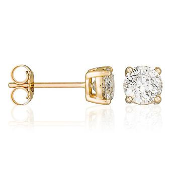 Brincos amarelos de ouro e diamante