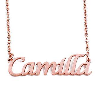 KL Camilla custom nimi Rose kullattu kaulakoru 18 karattoja säädettävä ketju 16 19 cm.