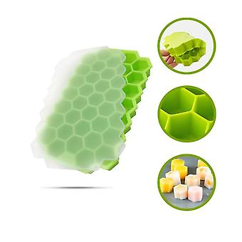 37 Cavity Silicone Ice Cube Trays Stackable Ice Maker with Removable Lid(20.5*12.3*2.3cm,Green)