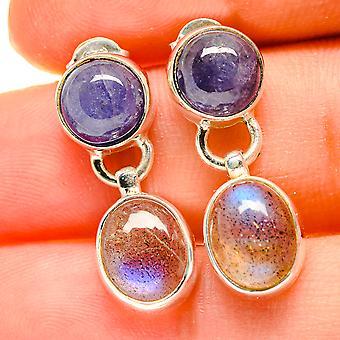 """Labradorite, Tanzanite Earrings 1"""" (925 Sterling Silver)  - Handmade Boho Vintage Jewelry EARR417126"""