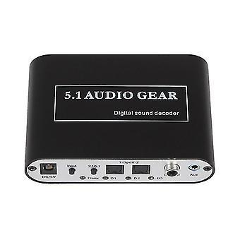 Digitale audiodecoder 5.1 audioapparatuur DTS/AC-3/6CH audioconverter LPCM naar 5.1 analoge uitgang 2.1