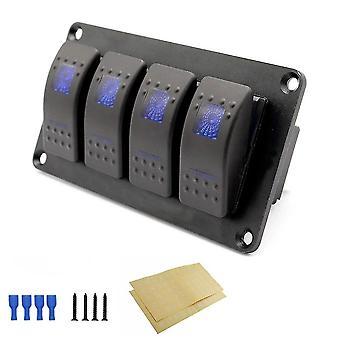 4 Gang 5 tűs rocker kapcsolópanel, vízálló on-off háttérvilágítású kapcsolók 12v, panel led