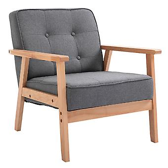 HOMCOM Reception Retro Accent Chair Beech Wood Frame Armchair Occasional Living Room Reception Bedroom Balcony Conservatory Padded  64.5W x 70D x 70H cm