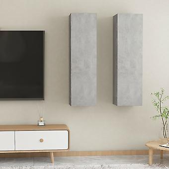 vidaXL ARMOIRES TV 2 h. gris béton 30,5x30x110 cm panneau de particules