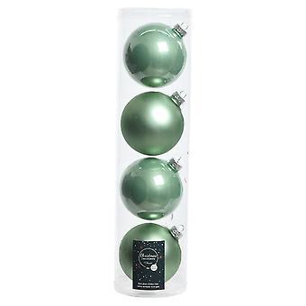 LAST FEW - 4 10cm Sage Green Glass Christmas Tree Bauble Decorations