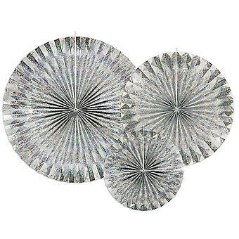3 sølv holografisk hengende papir fan fest dekorasjoner