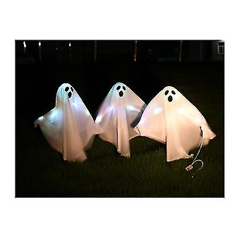 3 Pièces Ghost Hanging Decoration Halloween Light Up Ghost Fabric Hanging Decoration (Blanc)
