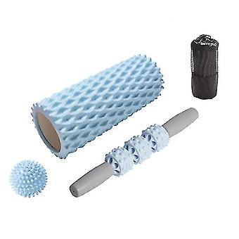 3шт Йога Массажер Фитнес оборудование, Йога колонка массажная палочка йога мяч (синий)