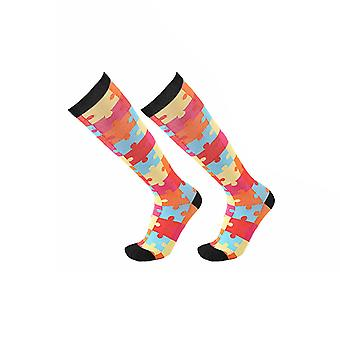 Flo Mode helle Muster Knie-hohe Kompression Socken, [S/M, Puzzle]
