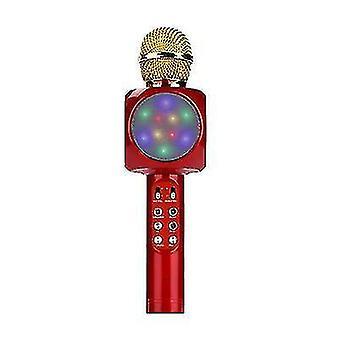 Ammattimainen langaton bluetooth-mikrofoni kädessä pidettävä kaiutin karaoke musiikkisoitin (punainen)