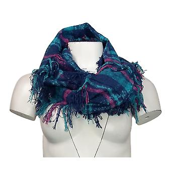 Unbranded Sweater Knit Plaid Infinity w/ Fringed Trim Blue Scarf