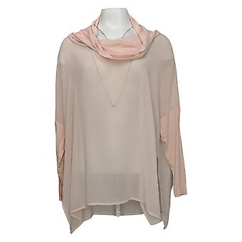 Wynne Layers Women's Top Cowl Neck Mixed Media Poncho Blouse Pink 633852