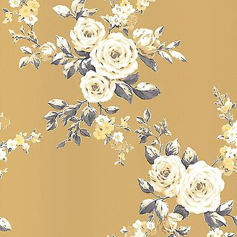Muriva Catherine Lansfield Canterbury Blomstermotiver Okker Tapet 165501