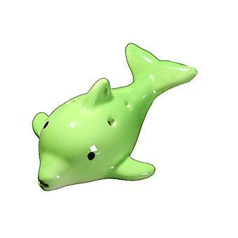 Cartoon Dolphin 6 Loch Ocarina Flöte Wind Musikinstrument Flöte Keramik (Grün)
