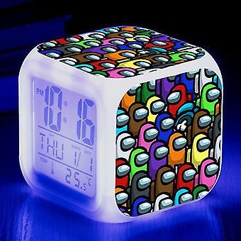 Alarm clocks #6 kids christmas giftgame among us imposter led alarm clock digital 7 colour night light