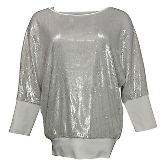 Skinnygirl Women's Sweater Spicy Sequined Doman-Sleeve White 727251