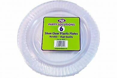 Pack of 6 26cm Clear Plastic Plates
