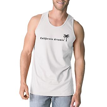 California Dreaming Mens White Tank Top Lightweight Summer Shirt