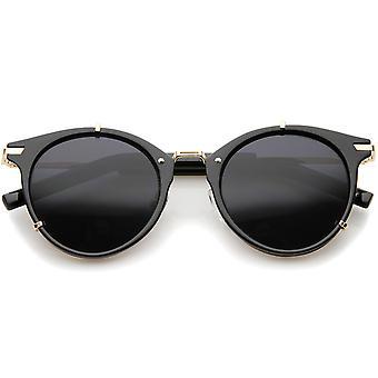 Retro Fashion P-3 metalen tempel Classic Horn omrande ronde zonnebril