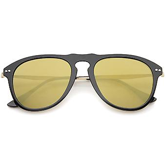 Nowoczesny most Keyhole róg oprawie lustra kolorowe przeciwsłoneczne okulary Aviator 53mm