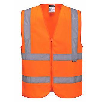 Portwest - Hi-Vis sikkerhet Workwear zippet bandet & klammeparentes Vest