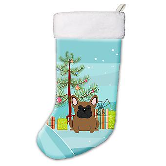 Merry Christmas Tree French Bulldog Brown Christmas Stocking