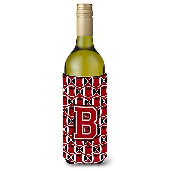 Letter B Football Red, Black and White Wine Bottle Beverage Insulator Hugger