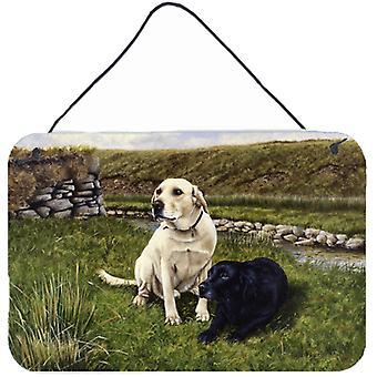 Gelbe und schwarze Labradore Wand oder Tür hängen Drucke