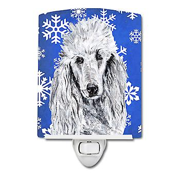 White Standard Poodle Winter Snowflakes Ceramic Night Light