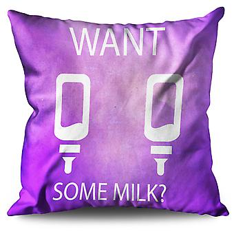 Want Milk Mom Joke Funny Linen Cushion 30cm x 30cm | Wellcoda
