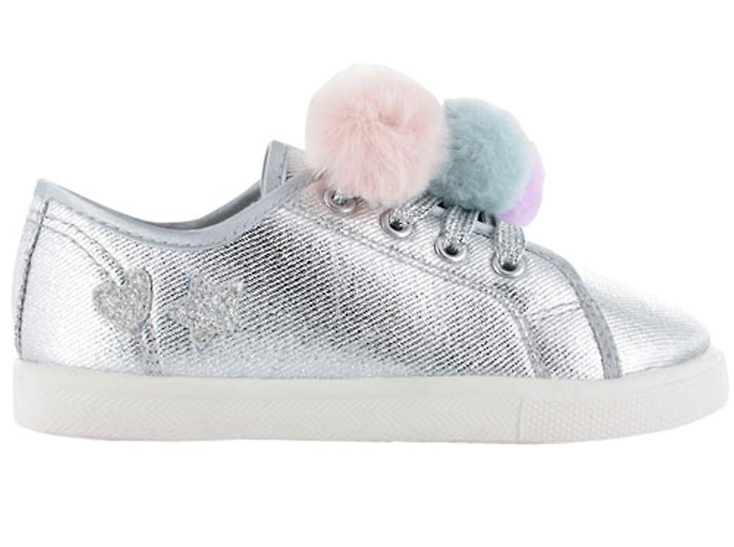 Girls silver sparkly pom pom trainers