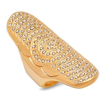 السيدات 18 ك الفولاذ المقاوم للصدأ مطلي الذهب الماس محاكاة دوامة الدائري
