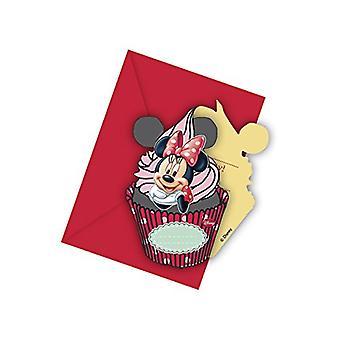 Invitation invitations Minnie children party invitation card birthday 6 pieces