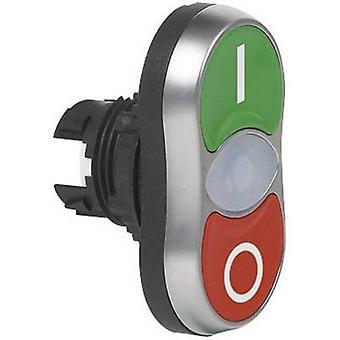 BACO L61QH21 Double tête pushbutton Anneau avant (PVC), chrome plaqué vert, Rouge 1 pc(s)