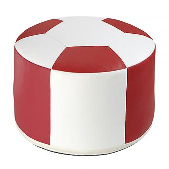 Football cushion synthetic leather white/red 6300321 Ø 50/34 cm