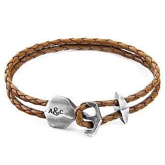 Anchor & Crew Light Brown Delta Anchor Silver And Braided Leather Bracelet