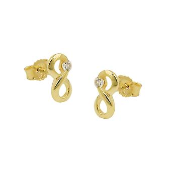 Plug 9x5mm characters infinity with cubic zirconia GOLD 9Kt