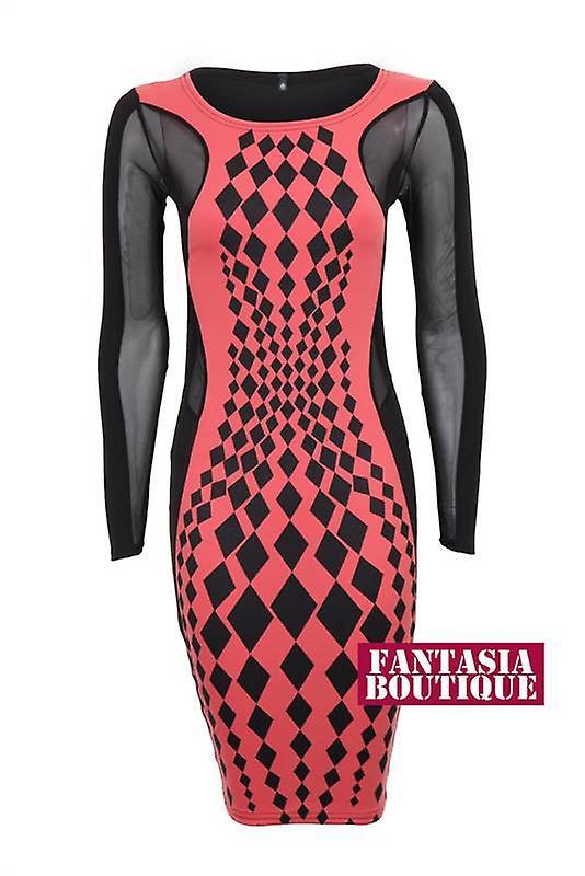 New Ladies Diamond Pattern Mesh Insert Slim Effect Women's Bodycon Dress